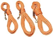 Orange polypropylene soft nylon roping with heavy brass snap secured with leather