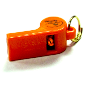 ROY GOINA STANDARD WHISTLE. Used by both professional trainers. Available in orange and clear, with a pea or pealess.